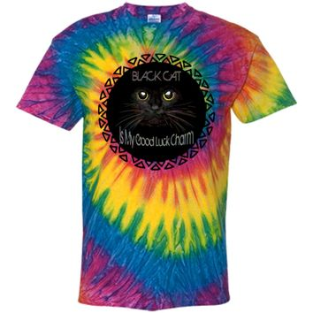 Black Cat Is My Good Luck Charm - Customized 100% Cotton Tie Dye T-Shirt
