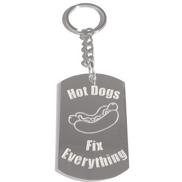 Hot Dogs Fix Everything Metal Ring Key Chain Keychain