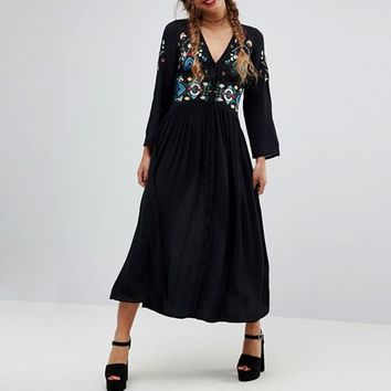 ASOS Embroidered Maxi Dress at asos.com