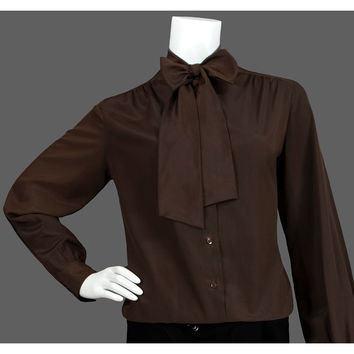 Vintage Brown Bow Blouse, 70s Secretary Top, 1970s Ascot Blouse, High Collar Long Sleeve Button Up Pleated Shirt, Cocoa Chocolate, Medium ML
