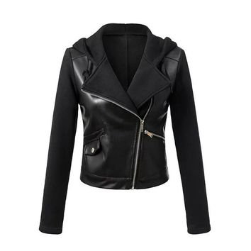 Trendy Sisjuly Faux Leather Jackets Women Hooded Jacket Black Patchwork Autumn Winter Zipper PU Coat Punk Motorcycle Outerwear AT_94_13
