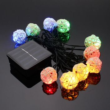 Waterproof Rattan Ball Solar Powered LED String Light Christmas Wedding Starry LED String Fairy Light Outdoor Garden Patio Lamp