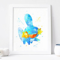 Pokemon Mudkip, pokemon art print, pokemon poster, pokemon watercolor pokemon wall art pokemon Nursery Print, Nursery Pocket Monsters art