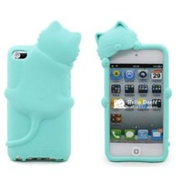 JBG Light Blue 3D Cute Cat Kiki Animal Gel Silicone Rubber Soft Case Cover Skin for Apple Ipod Touch 4 4th with Earphone Anti Dust