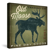 Old Moose Trading Co. Green Canvas Wall Art