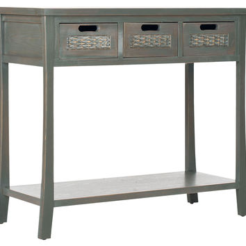 Lincoln 3-Drawer Console, Gray/Green, Console Table