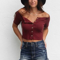 No Talking Button Up Crop Top