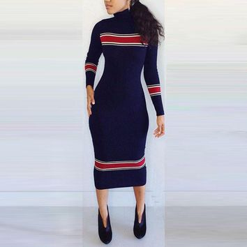 Winter Autumn Women Midi Dresses Turtleneck Bodycon Cotton Linen Sweater Dress Elastic Splice Causal Slim Fashion Sexy Vestidos