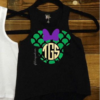 Monogram Mermaid Minnie Mouse Monogram  Racer Tank /Toddler / Youth Adult Racer Tank