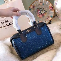 COACH 2018 new star sequins cross pattern palm pattern pillow bag shoulder bag diagonal package Blue