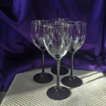 Luminarc France Black Stemmed Wine Glasses,  Set of Four 8 Ounce, Domino Pattern Long Stemmed, White Wine, Arcoroc France