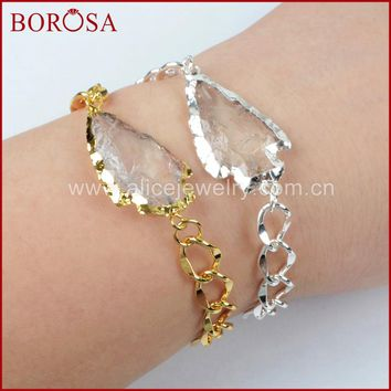 BOROSA Druzy White Crystal Bracelet for Women, Arrowhead Gold Color/Silver Color Natural White Quartz Drusy Bracelet G1265/S1265