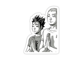 'Nishinoya & Tanaka Prayer Haikyuu Manga Sticker' Sticker by Ashmore