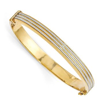 Leslies Sterling Silver Gold-plated Glimmer Infused Hinged Bangle