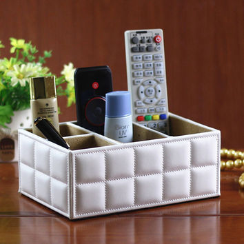 Luxury PU Leather Storage Boxes Remote Control Controller TV Guide Mail CD Caddy Toy Holder Home Organizer Bins On Sale