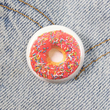 Pink Frosted Donut 1.25 Inch Pinback Button Badge