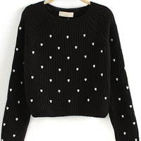Black Long Sleeve Hearts Embroidered Crop Sweater - Sheinside.com