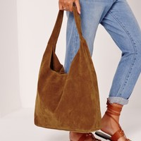Missguided - Slouch Faux Suede Tote Bag Tan
