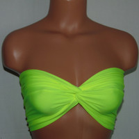 Bikini top Neon  twisted bikini top, Bandeau, Swimsuit top, Spandex bandeau, Spandex swimsuit top, bandeau top, Active wear.
