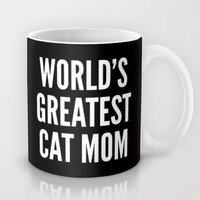 WORLD'S GREATEST CAT MOM (Black & White) Mug by CreativeAngel