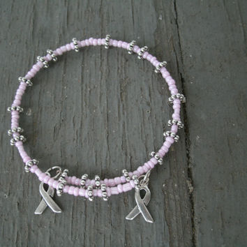Cancer Ribbon Bracelet - 2 silver ribbon charms, pink beads, daisy spacers, memory wire, fits most, support, love,