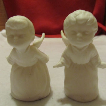VINTAGE SCHIMMO BROS. BOY AND GIRL ANGLES FIGURINES