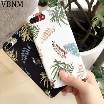 For iPhone 8 Case Silicone Green Leaves Phone Case for iPhone 7 Case TPU Matte Soft Back Cover for iPhone X 6 6S 7 8 Plus Cases