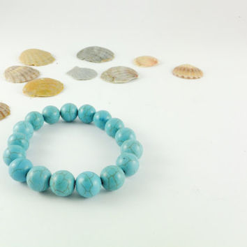 Turquoise Bracelet Turquoise Beaded Jewelry Gemstone Bracelets Statement Jewelry