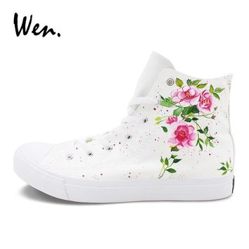 Wen Original Design Floral Graffiti Shoes Pink Flowers Flowering Branch Hand Painted Canvas Sneakers Men Women's Drawn Shoes