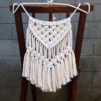 Wedding chair back Wedding chair decoration Bohemian decor Small macrame wall hanging Boho wedding White wall decor Beach house decor