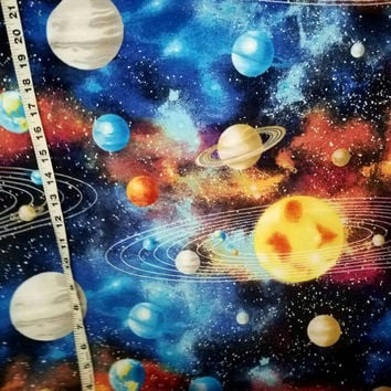 Flannel fabric with planets space galaxay astronomy cotton print sewing material by the yard BTY quilter craft project space fabric