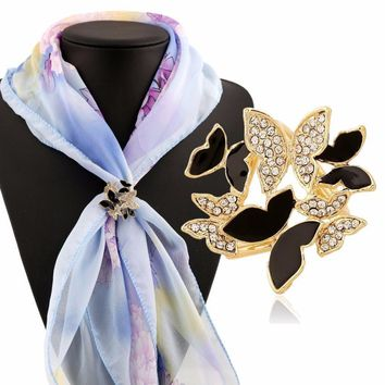 Tricyclic Butterfly Scarf Buckle Brooch Holder Scarf Jewelry beautiful accessories unique structure Silk scarf buckle #30