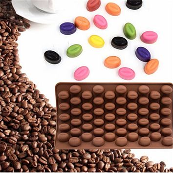 55 Holes Coffee Bean Chocolate Mold Silicone 3D Coffee Beans Non-Stick Cake Fondant DIY Jelly Ice Baking Mould