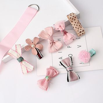 8pcs Multi-Style Ribbon Bow Flower Hairpins Hair Barrettes Children Accessories Cute Baby Girls Headwear Hair Clip