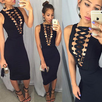 Hot Sale Zippers Sleeveless Deep V Metal Sexy One Piece Dress [10577452812]