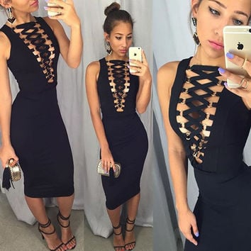 Hot Sale Zippers Sleeveless Deep V Metal Sexy One Piece Dress [8098139527]