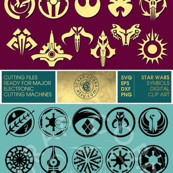 21 Star Wars Symbols - Digital Download - Vector Decal Clipart - SVG, eps, DXF, PNG for cards, transfers, cutting machines cv-117
