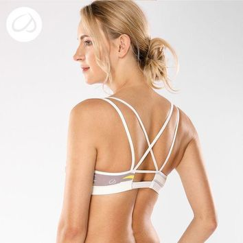 VONWZ7 Women's Removable Padded Criss Cross Back Gym Strappy Yoga Sports Bra