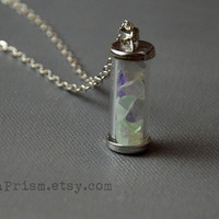 Rainbow Fluorite Chips in Glass vial pendant necklace | Fluorite Crystal chips | Glass vial necklace | Green Crystal Necklace | Wish bottle
