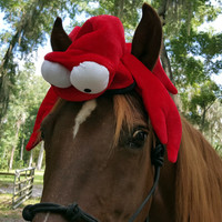Lobster Hat for Horse or Pony -- Soft Equine Red Lobster Hat - Fun Horse Costume