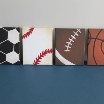 Sports - Football, Soccer, Basketball, Baseball - Themed - Junior VarsityWall Decor Art for Nursery, Kids Room