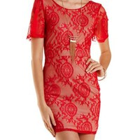 Bright Red Combo Plunging Back Bodycon Lace Dress by Charlotte Russe