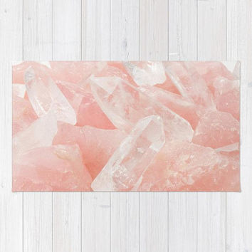 Rose Quartz Crystal Rug, Baby Pink Girls Nursery Rug, Pink Area Rug, Pink Nursery Rug, Pretty Light Pink Area Rug, Polyester Rug, Dorm Decor