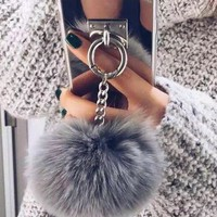 Popular Fur Ball Chain Mirror iPhone 6 6s 6Plus 6sPlus 7 7 Plus Phone Cover Case