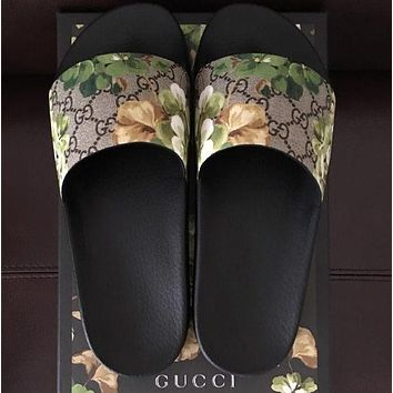 Gucci Casual Fashion Women Floral Print Sandal Slipper Shoes-3