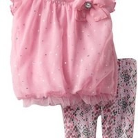 Little Lass Baby-Girls Infant 2 Piece Capri Set with Printed Legging, Pink, 3-6 Months