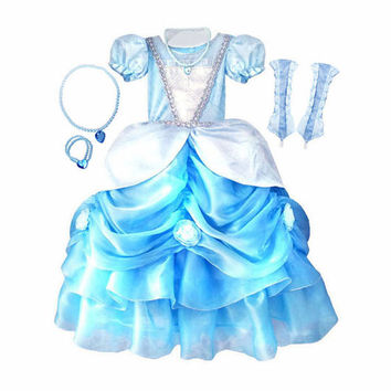 Cinderella Girl's Princess Dress, Gloves and Jewels Costume Set Sizes 4-9yr Express Delivery Before Halloween!
