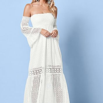 Off The Shoulder Maxi Dress in White | VENUS
