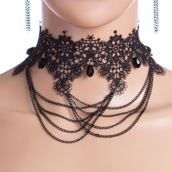 Caroline Lace Choker with Chain Draping and Earrings Set