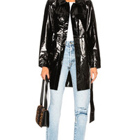 Palmer Girls x Miss Sixty Patent Leather Menswear Short Trench Coat in Black   FWRD